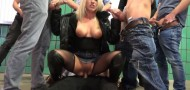 Daynia - gangbang record 2019! Fickwahnsinn with over 10 strange men - Mega Bukkake!